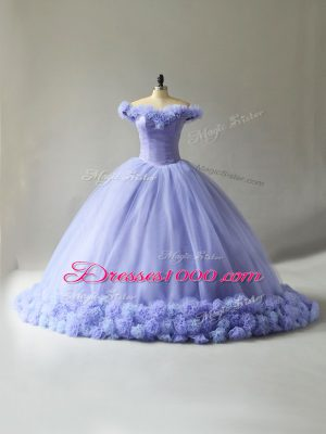 Lavender Ball Gowns Off The Shoulder Sleeveless Tulle Court Train Lace Up Hand Made Flower Quinceanera Gown