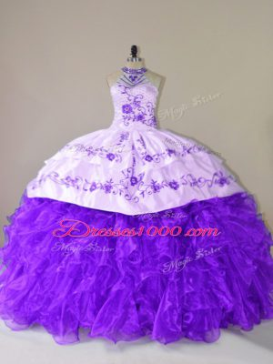 Purple Ball Gowns Halter Top Sleeveless Organza Court Train Lace Up Embroidery and Ruffles Vestidos de Quinceanera