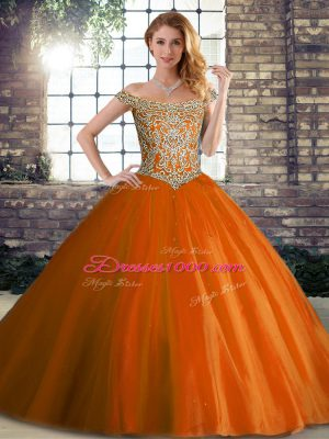 Beautiful Sleeveless Beading Lace Up Sweet 16 Quinceanera Dress with Orange Red Brush Train