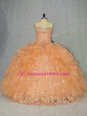 Modest Beading and Ruffles Sweet 16 Quinceanera Dress Orange Lace Up Sleeveless