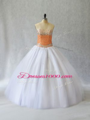 Popular Tulle Sleeveless Floor Length Quinceanera Dress and Beading