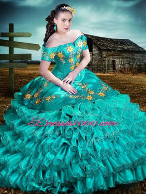 Off The Shoulder Sleeveless Organza Quinceanera Dresses Embroidery and Ruffles Lace Up