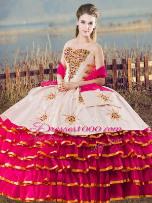 High Class Sweetheart Sleeveless Quinceanera Gown Floor Length Beading and Ruffled Layers Fuchsia Organza