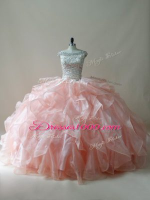 Hot Sale Beading and Ruffles Vestidos de Quinceanera Peach Zipper Sleeveless Floor Length