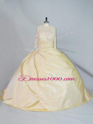 Yellow Ball Gowns Taffeta High-neck Long Sleeves Lace Lace Up Ball Gown Prom Dress Brush Train