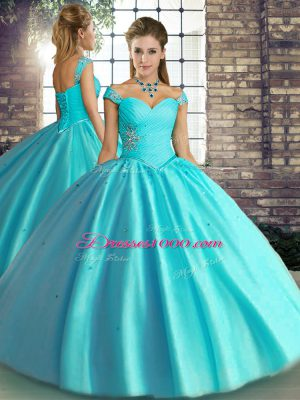 Ideal Floor Length Aqua Blue Quinceanera Gown Off The Shoulder Sleeveless Lace Up