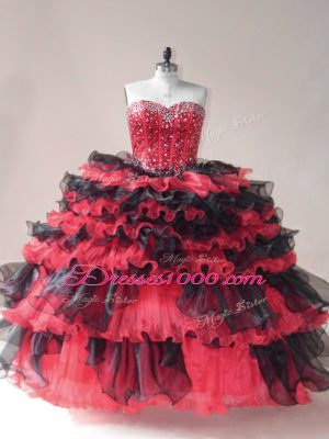 Glamorous Sleeveless Beading and Ruffled Layers Lace Up Vestidos de Quinceanera
