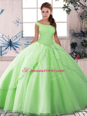 Sleeveless Tulle Brush Train Lace Up Ball Gown Prom Dress for Military Ball and Sweet 16 and Quinceanera