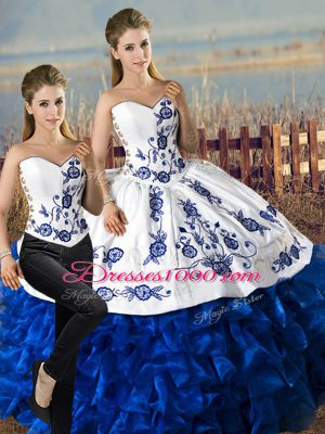 Floor Length Lace Up Sweet 16 Dresses Blue And White for Sweet 16 and Quinceanera with Embroidery and Ruffles