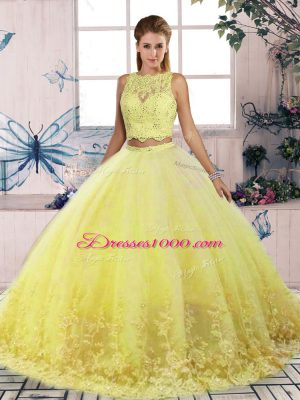 Sleeveless Lace Backless Quinceanera Gown with Yellow Sweep Train