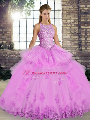 Lilac Lace Up Quince Ball Gowns Lace and Embroidery and Ruffles Sleeveless Floor Length