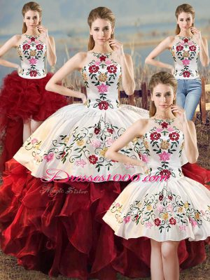 White And Red Halter Top Neckline Embroidery and Ruffles Ball Gown Prom Dress Sleeveless Lace Up
