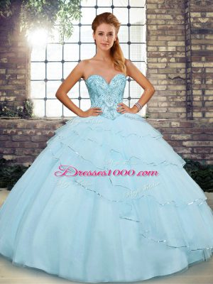 Sweetheart Sleeveless Tulle Quinceanera Dresses Beading and Ruffled Layers Brush Train Lace Up