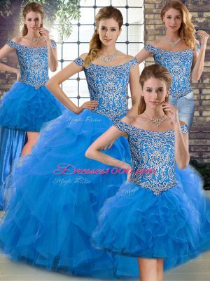 Blue Sleeveless Brush Train Beading and Ruffles 15th Birthday Dress