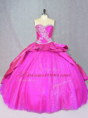Stunning Satin and Tulle Sleeveless Sweet 16 Dress Court Train and Beading and Embroidery