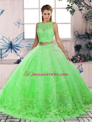 Inexpensive Tulle Scalloped Sleeveless Sweep Train Backless Lace 15th Birthday Dress in Green