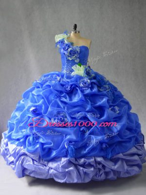 Floor Length Lace Up Quinceanera Dresses Blue for Sweet 16 and Quinceanera with Pick Ups and Hand Made Flower