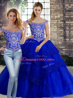 Fantastic Royal Blue Sleeveless Brush Train Beading and Lace Quinceanera Gowns