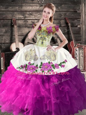 Sleeveless Lace Up Floor Length Embroidery and Ruffles 15 Quinceanera Dress
