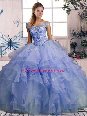 Lavender Organza Lace Up Off The Shoulder Sleeveless Floor Length Quinceanera Gowns Beading and Ruffles