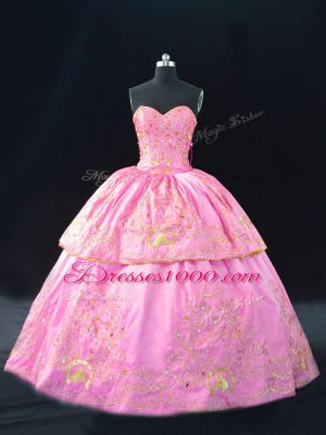 Customized Rose Pink Lace Up Quinceanera Dresses Embroidery Sleeveless Floor Length