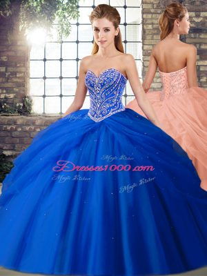 Fancy Sleeveless Beading and Pick Ups Lace Up Quince Ball Gowns with Royal Blue Brush Train
