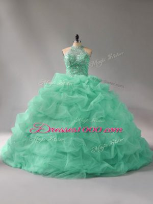 Superior Apple Green Organza Lace Up Sweet 16 Dresses Sleeveless Court Train Beading and Pick Ups