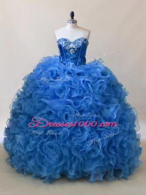 Hot Sale Blue Fabric With Rolling Flowers Lace Up Quinceanera Dress Sleeveless Floor Length Ruffles and Sequins