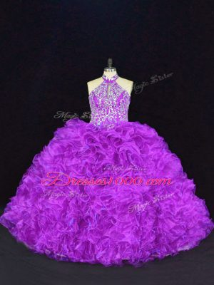 Extravagant Purple Organza Lace Up Ball Gown Prom Dress Sleeveless Floor Length Beading and Ruffles