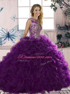Floor Length Lace Up Vestidos de Quinceanera Purple for Military Ball and Sweet 16 and Quinceanera with Beading and Ruffles