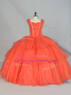 Lovely Organza Straps Sleeveless Lace Up Beading and Ruffled Layers Quinceanera Dresses in Orange Red
