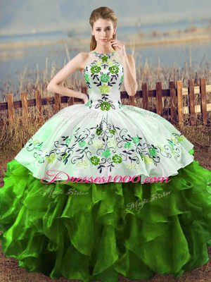 Free and Easy Embroidery and Ruffles Vestidos de Quinceanera Green Lace Up Sleeveless Floor Length