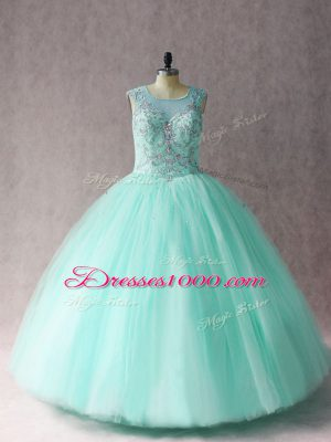 Scoop Sleeveless Tulle Quince Ball Gowns Beading Lace Up