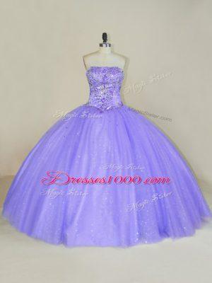 Lavender Sleeveless Floor Length Sequins Lace Up Vestidos de Quinceanera
