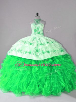Extravagant Lace Up Quinceanera Dress for Sweet 16 and Quinceanera with Embroidery and Ruffles Court Train