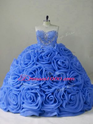 Fantastic Organza Sleeveless Ball Gown Prom Dress Brush Train and Beading