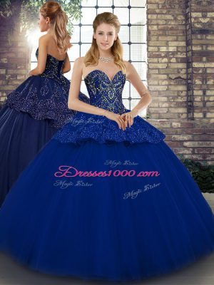 Royal Blue Tulle Lace Up Quinceanera Gown Sleeveless Floor Length Beading and Appliques