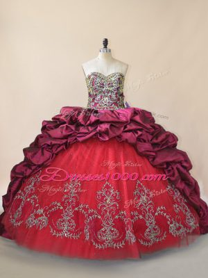 Fine Fuchsia Lace Up Sweetheart Beading and Pick Ups Ball Gown Prom Dress Taffeta and Tulle Sleeveless Brush Train