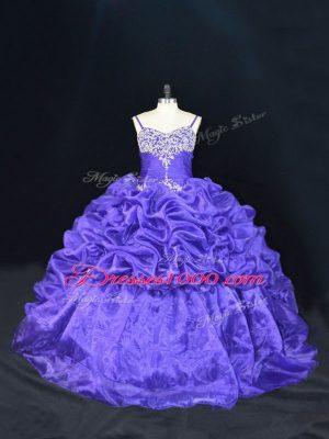 Lovely Purple Lace Up Straps Beading and Pick Ups Sweet 16 Dresses Organza Sleeveless Brush Train