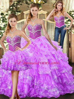 Floor Length Lilac Vestidos de Quinceanera Sweetheart Sleeveless Lace Up
