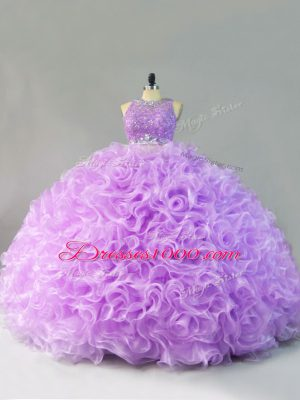 Exquisite Scoop Sleeveless Zipper Vestidos de Quinceanera Lavender Fabric With Rolling Flowers