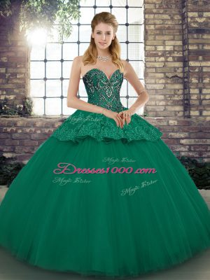 Luxurious Green Ball Gowns Tulle Sweetheart Sleeveless Beading and Appliques Floor Length Lace Up Vestidos de Quinceanera