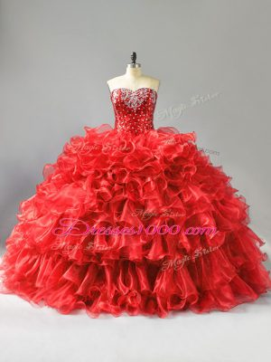 Ball Gowns Quinceanera Dresses Red Sweetheart Organza Sleeveless Floor Length Lace Up