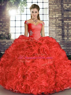 Extravagant Coral Red Sleeveless Floor Length Beading and Ruffles Lace Up Sweet 16 Quinceanera Dress