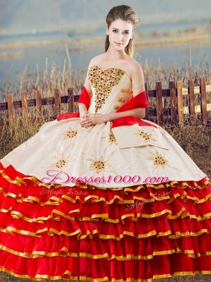 Popular White And Red Sweetheart Neckline Beading and Ruffled Layers 15 Quinceanera Dress Sleeveless Lace Up
