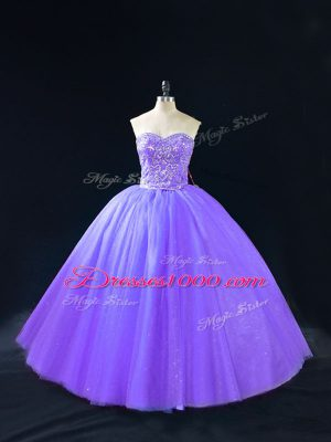 Dramatic Lavender Tulle Lace Up Sweetheart Sleeveless Floor Length Quinceanera Dresses Beading