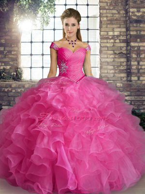 Floor Length Rose Pink Quinceanera Dress Organza Sleeveless Beading and Ruffles