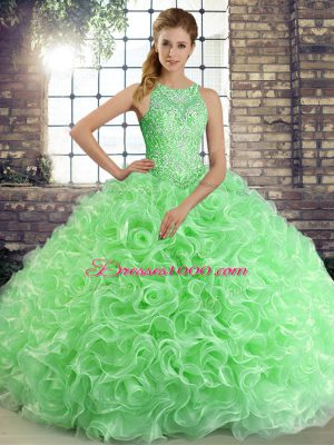Clearance Sleeveless Floor Length Beading Lace Up Quinceanera Gown with Green