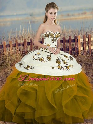 Brown Sweetheart Lace Up Embroidery and Ruffles and Bowknot Sweet 16 Quinceanera Dress Sleeveless