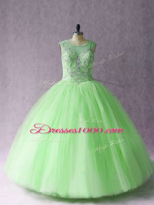 Sleeveless Asymmetrical Beading Lace Up Vestidos de Quinceanera with